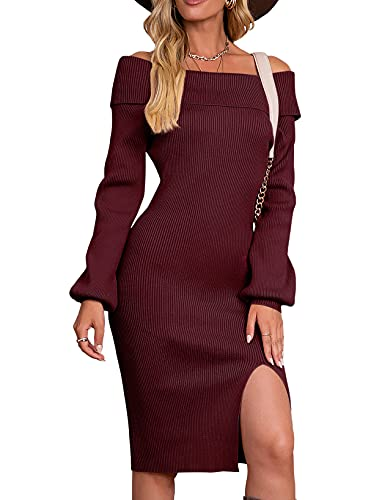 Vthereal Vestido de punto para mujer, elegante, cuello redondo, vestido de invierno, manga larga, borgoña, XL