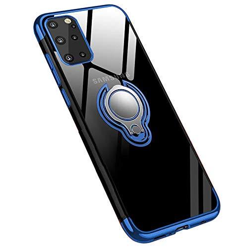 Jaligel Schutzhülle für Samsung Galaxy S20 Plus 360 ° Ring Magnetische Halterung Ring Case Bumper TPU Silikon Transparent Stoßfest Dünn Anti Rutsch Hülle - Blau