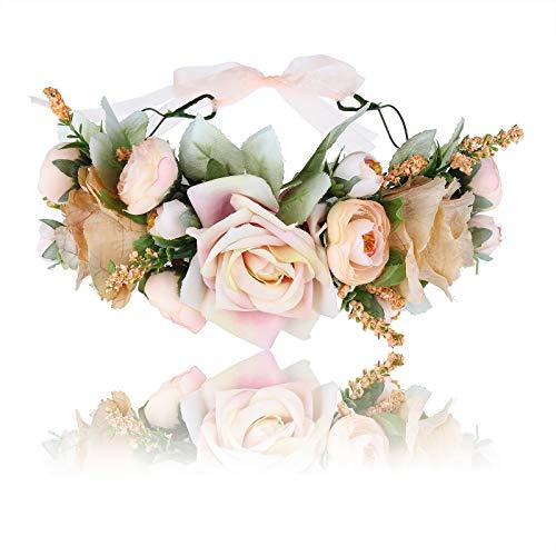 Damen Mädchen Blumen Stirnband Blumenkranz - Blühen Blumenkrone Girlande Kopfschmuck Festival Hochzeit Party Einstellbar mit Band (Gelb)