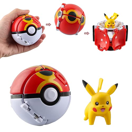 Throw N Pop Poke Ball with Action Figure Toy Set, Clip N Carry Poke Ball,...