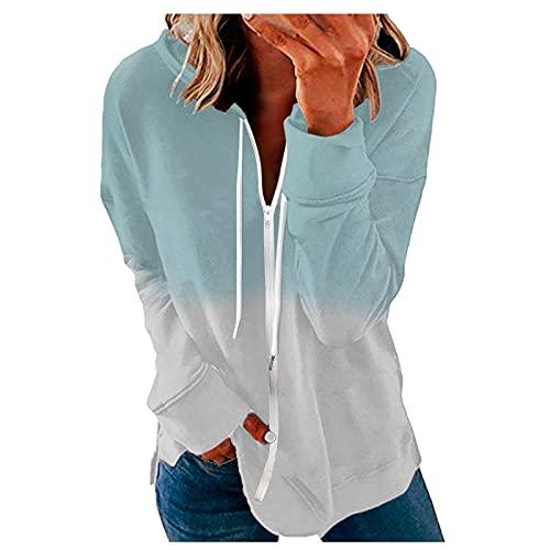 Niangie Top Oversized Mantel Langarm Damen Beiläufig Top aus Sweatshirt Hemd Stitching Langarm Pullover Bluse Casual Plus Size Lose Oberteile Basic Herbst Winter mit Reißverschluss (Green, S)