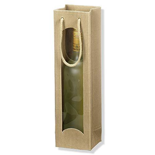 1er Flaschentasche, Geschenktasche, Weintasche, 10 + 8,5 x 36 cm, Natur, 20 Stück