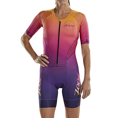 Zoot Women's LTD Aero Triathlon Suit - Short Sleeve Tri Racesuit with Primo Fabric and Two Pockets (Sunset, Small)