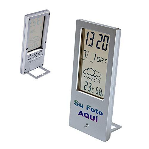 PROMO SHOP Estacion Meteorologica Digital Personalizada con Higrometro y Termometro para Casa · Estación Inalambrica con función de Alarma y Calendario