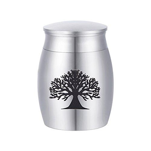 Urnenanhänger aus Edelstahl, mit Aufdruck: Lebensbaum, Andenken zur sicheren Aufbewahrung von Asche