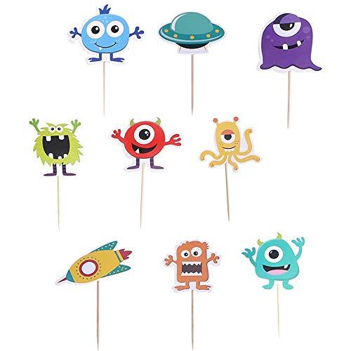 18 Stück Monster Party Kindergeburtstags Deko, Monster Kuchen Party Dekoration, Geeignet für Monster-Themenpartys, Geburtstagsfeiern, Gartenpartys, Heimdekorationen Usw