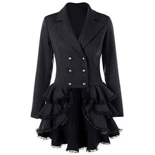 BOLAWOO-77 Damen Mantel Gehrock Mit Spitze Von Gothic Lolita Mantel Mode Marken Langer Kostüm Cosplay Kostüm Smoking Uniform (Color : Schwarz, Size : 2XL)