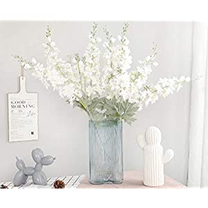 Skyseen 5PCS Artificial Delphinium Flowers with Full Blooming Artificial Flowers Plants Wedding Home Decor(White)