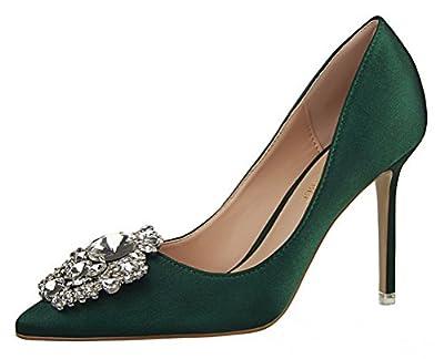 T&Mates Womens Pointed Toe Rhinestones Buckle High Heel Satin Wedding Evening Dress Pumps (7 B(M) US,Green)