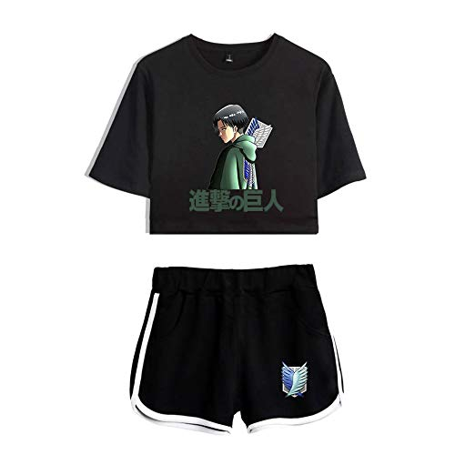 NLJ-lug Attack On Titan - Juego de camiseta para mujer, diseño de anime, talla L