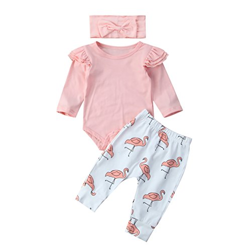 3 Piezas Ropa de Bebé Conjunto Mameluco de Manga Larga Pantalones Largos Diadema Traje para Recién Nacida Mono de Cuerpo para Niñas Pequeñas (Rosa + Flamenco, 0-3 Meses)