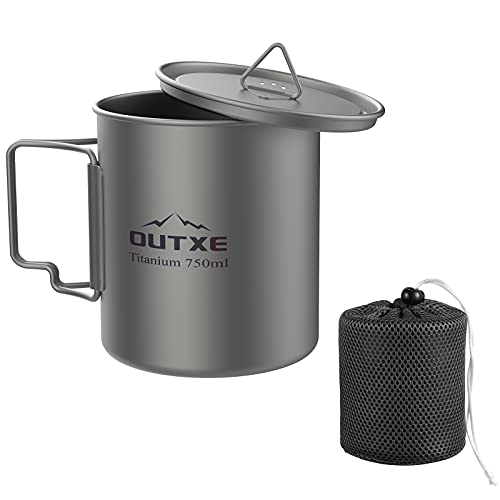 OUTXE Titanium Pot 750ml with Lid Ultralight Titanium Mug Foldable Handle Eco-Friendly Cup for Backpacking Hiking Outdoors