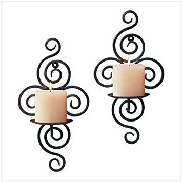 Zings & Thingz 57071687 Spiral Candle SCONCES, Black
