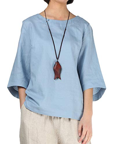 Minibee Women's Loose Cotton Linen Blouse Round Neck with Chinese Frog Button Light Blue-XL