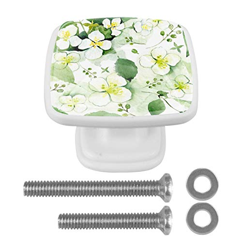 Pomos de cristal, 4 pomos cuadrados de lujo con tornillos para puerta de cajón, puerta de armario, puerta de armario, cocina, etc. Flores blancas