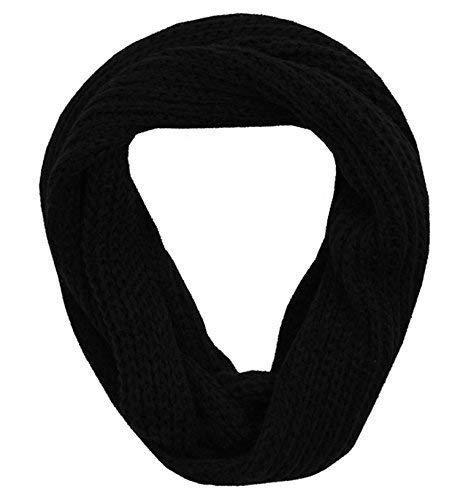 Pierre Roche Gris Noir pour homme Uni en tricot Unisexe chaud Écharpe en laine pour femme Hiver Snood Écharpe - Noir -