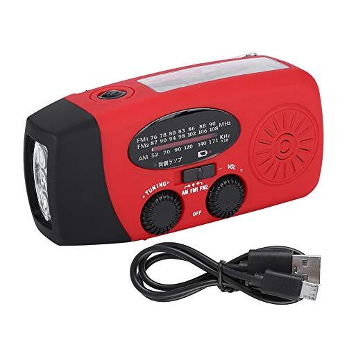 DEWIN Solarbetriebenes Radio - Handkurbel AM/FM/NOAA Handy-Ladegerät Radio mit Taschenlampe für den Notfall(balckrot)