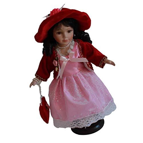 SM SunniMix 30cm Porzellan Puppen Vintage Mädchen Puppen im Kleid und Hut - Typ 4
