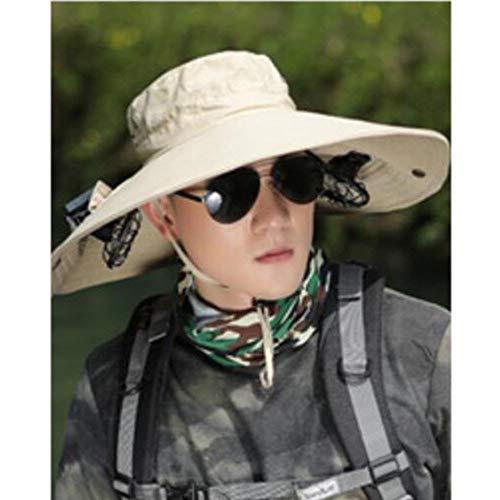 HJM Cappello Fan Solare, Regolabile Energia Solare Escursioni Pesca Raffreddamento cap Fan per Baseball Golf Pesca Estate Outdoor,Solidcolorkhaki