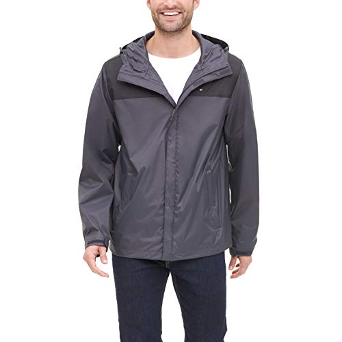 Tommy Hilfiger Men's Lightweight Breathable Waterproof Hooded Jacket, Charcoal, XXX-Large