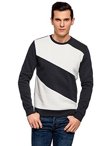 oodji Ultra Men's Round Neck Sweatshirt with Contrast Details, Blue, US 42-44 / EU 52-54 / L