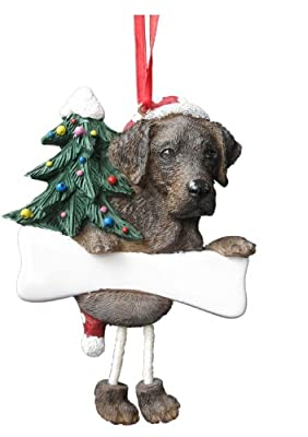 """Chocolate Labrador Ornament with Unique """"Dangling Legs"""" Hand Painted and Easily Personalized Christmas Ornament by E&S Imports, Inc"""