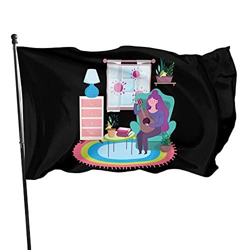 DRXX Stay at Home Mujer Joven con Guitarra en Sala de Dibujos Animados Bandera Decorativa para Exteriores de 3 x 5 pies, fácil de Instalar, Duradera y sin Colores