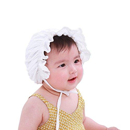 Vovotrade®Doux Belle Mignonne Princesse Enfants Children Kids Girls Baby Filles Bébé Chapeau Hat Lace Dentelle Florale Casquettes Caps 1-6Months (White)