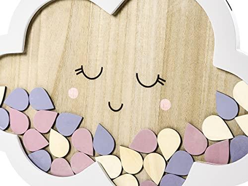 PartyDeco Gästebuch aus Holz - Wolke 305x43cm Baby-Dusche Taufe Geburtstag