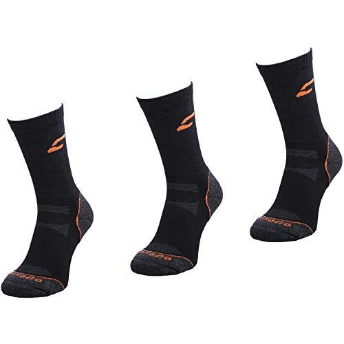Comodo 3 Paires Chaussettes de Trekking | Femmes/Hommes | Fonctionnelles | Sport | Extérieur | Randonnée | Marche | Alpinisme | TRE1, 02. Cochon:Noir/Orange, Groessen:43-46