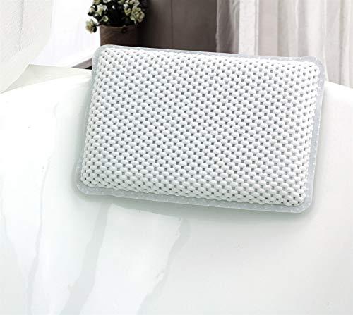 Liveinu Badewannenkissen Luxus Wannenkissen Bad Kissen mit Saugnäpfen Rutschfeste Wasserabweisenden Nackenkissen für Kopf Nacken Rücken 29x19cm Weiß