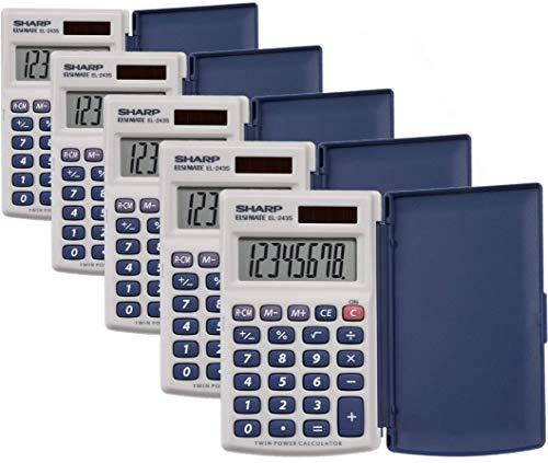 Sharp Electronics 8-Digit Twin Powered Calculator (EL-243S/EL-243SB) 5/Pack