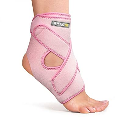 Bracoo Ankle Support, Compression Brace for Arthritis, Pain Relief, Sprains, Sports Injuries and Recovery, Breathable Neoprene Sleeve, FS10 (Pink, L/XL)