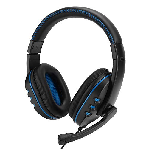 Gaming Headsets, Head-Mounted Computer Gaming Headphone Headset High Performance Reality Sound Field voor PS4 voor Music Lovers en Game Lovers(zwart blauw)