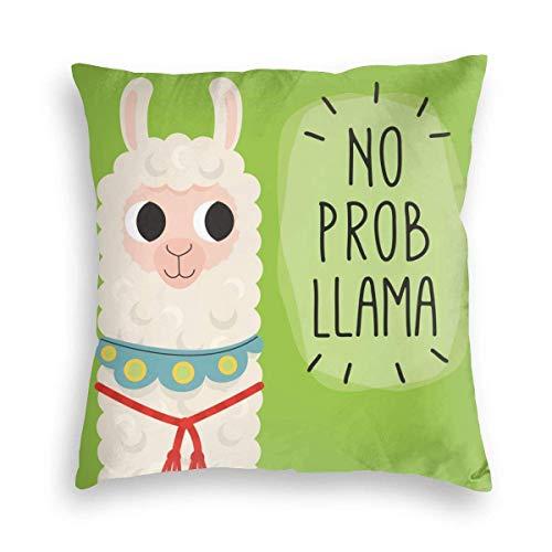 Cushion Cover Cute Alpaca with Quote No Prob Llama Anime Christmas Decoración De Interiores Funda De Almohada Funda De Cojín Sofá Cuadrado 45Cmx45Cm Bed Room Home Funda De Almohad