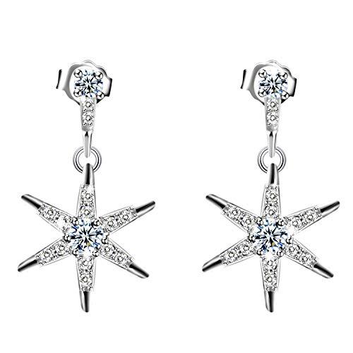 Pendientes Mujer, Amilril Diseño de Estrella Cuelga los Gancho Aretes Plata de Ley 925 Clásico Joyería para, Regalos Navidad Originales
