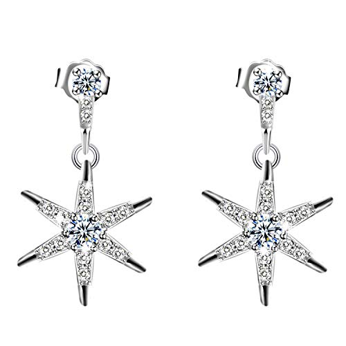 Amilril Star Drop Earrings, 925 Sterling Silver Cubic Zirconia, Fine Jewellery