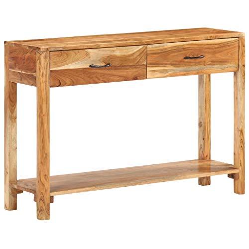 vidaXL Akazienholz Massiv Sideboard 2 Schubladen Vintage Kommode Anrichte Schrank Konsolentisch Konsole Beistelltisch Flurtisch 110x30x75cm