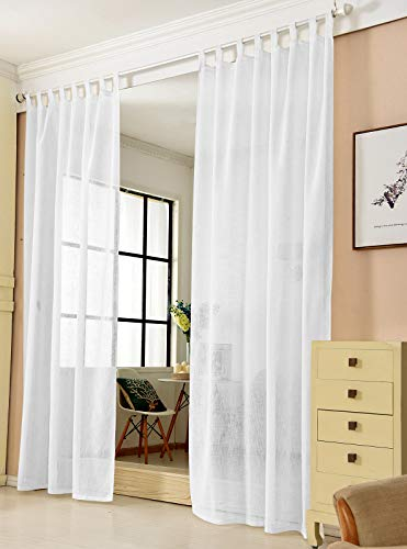 Transparente Gardine mit Schlaufen 1 Stück Fensterschal in Leinen-Optik Dekoschal in Weiß 140x245 cm Schlaufenschal für Schlafzimmer Kinderzimmer Küche Stores Vorhang Fenstervorhang