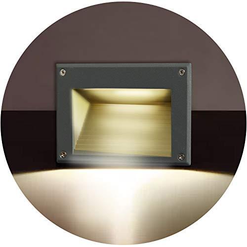 Topmo-plus faretto incasso a parete /3W LED Osram SMD/Luce scale esterne interne/incasso a pavimento da Alluminio/Lampade da incasso a terra/Impermeabile IP65 3000K Bianco caldo grigio 162mm