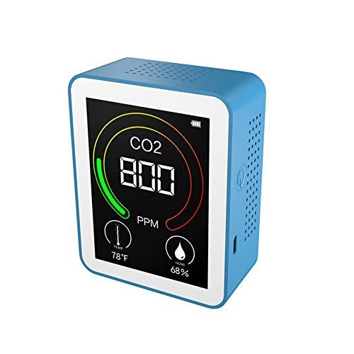 YANXS Detektor Kohlendioxid Detektor 400-5000PPM Messbereich Intelligenter Luftteste mit Temperatur Feuchtigkeits Anzeige Gas-Analysator,Blau