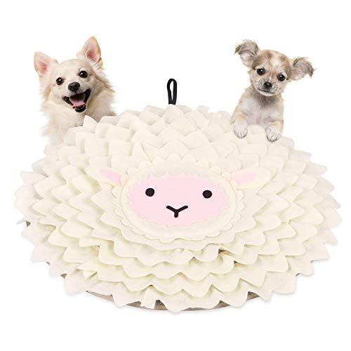 Dociote Hunde Schnüffelteppich Intelligenz Spielzeug waschbar & schadstofffrei Trainingsmatte Futtermatte Schnüffeldecke für kleine & mittelgroße Hunde Katzen Weiß