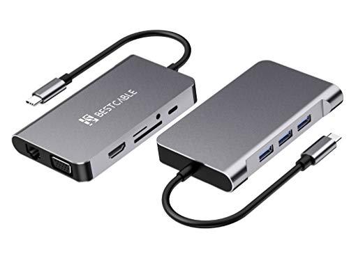 Best Cable 10 Puertos de Aluminio USB C Adaptador con 4K-HDMI, VGA, Puertos USB 3.0, Tipo C PD, Gigablit Ethernet RJ45, Lector de Tarjetas SD/TF, Compatible con MacBook , más Dispositivos Tipo C