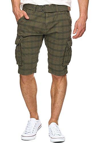 Indicode Herren Monroe Check Cargo Shorts kariert mit 6 Taschen inkl. Gürtel aus 100% Baumwolle | Kurze Hose Bermuda Sommer Herrenshorts Short Men Pants Cargohose kurz f. Männer Army M