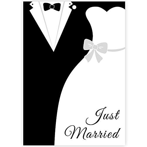 Ballonkarten Brautpaar für den Ballonstart bei der Hochzeit, 50 Stück Set - Ballonflugkarten mit der Aufschrift Just Married