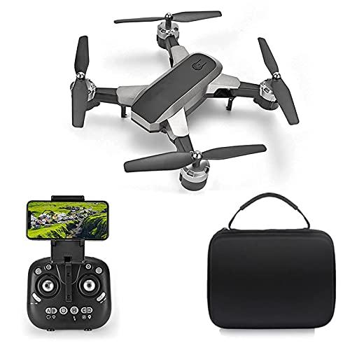 HJRBM Drone con cámara 4K WiFi FPV para niños Adultos, helicóptero Plegable RC Quadcopter, Juguetes para niños, Modo sin Cabeza, Volteretas 3D, Funciones de waypoints Gris