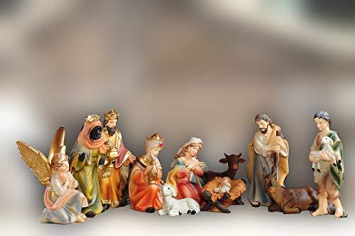 Sehr große PREMIUM Krippenfiguren 12 -tlg. SET, 15 cm schwere hochwertige Ausführung, feine Mimik, HANDBEMALT - FIGUREN für große Holz Weihnachtskrippe Zubehör, Design XXL Maria Josef Jesus