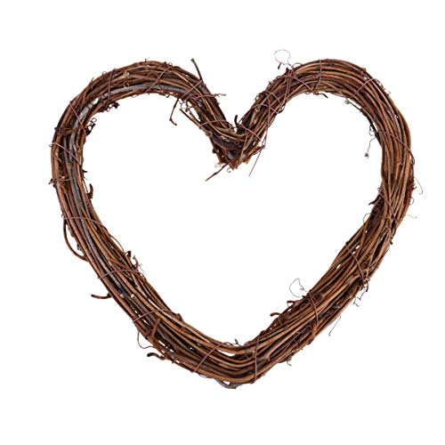 Wakauto Heart Shape Natural Grapevine Wreath Ring, DIY Craft Vines Base Grapevine Roll, Wreath Door Garland Home Wedding Party Decor Supplies for Christmas