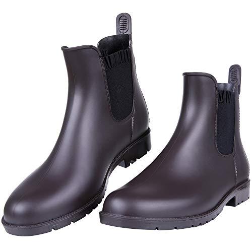 Asgard Damen Kurz Regen Stiefel Wasserdichte Knöchel Chelsea Booties, Braun, 43 EU