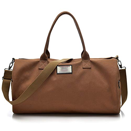 Men's Canvas Travel Bag, Large Capacity Handbag, Single-Shoulder Portable Multifunctional Bag, Suitable for Business Trip, Camping and Outdoor Activities (Color : Brown)